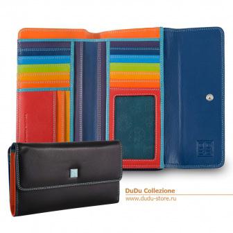 Большой кожаный цветной кошелек DuDu Италия